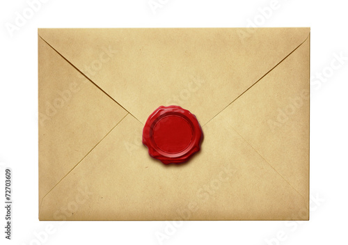 canvas print picture Old mail envelope with wax seal isolated