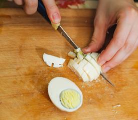 food preparation. cutting egg