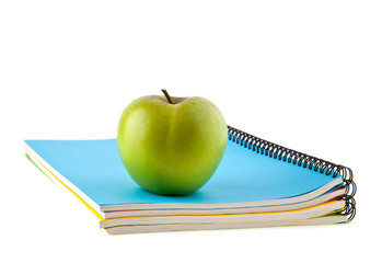 notebooks and apple