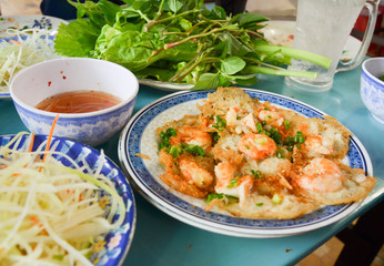 Vietnamese mini fried rice pancakes, banh khot.