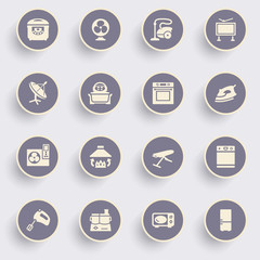 Home appliances icons with white buttons on gray background.