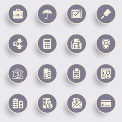 Banking icons with white buttons on gray background.
