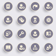 Users icons with white buttons on gray background.