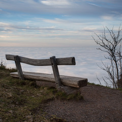 wooden bench above inversion fog in black forest, Germany