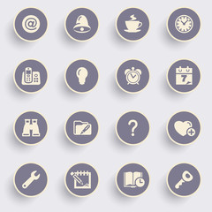 Organizer icons with white buttons on gray background.