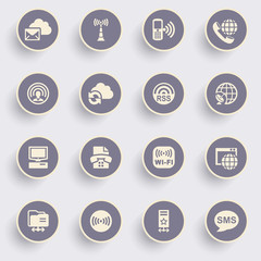 Communication icons with white buttons on gray background.