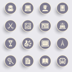 Education icons with white buttons on gray background.
