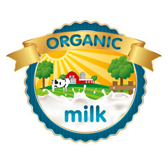 Organic milk label design with splash of milk