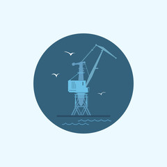 Icon with colored cargo crane  , vector illustration