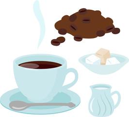 カップに入ったコーヒーとミルクと砂糖
