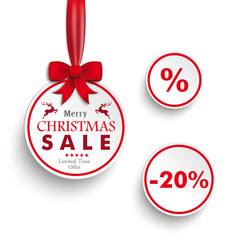 White Sale Circles Red Ribbon White Background