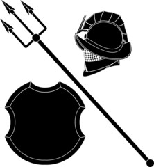 gladiators helmet and trident with shield. stencil