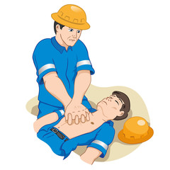 first aid officer doing cardiac massage