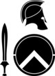 Постер, плакат: spartans helmet sword and shield stencil