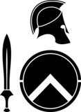 spartans helmet, sword and shield. stencil