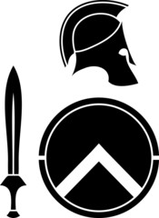 spartans helmet, sword and shield. stencil