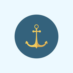 Icon with colored anchor, vector illustration
