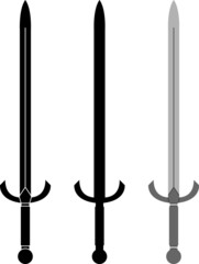 medieval sword. second variant. stencil and silhouette