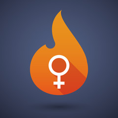 Flame icon with a female sign