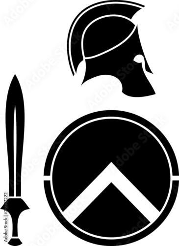 spartans helmet, sword and shield. stencil - 72707222
