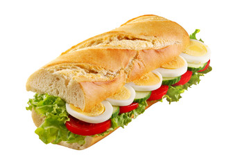 Egg salad sandwich French bread isolated