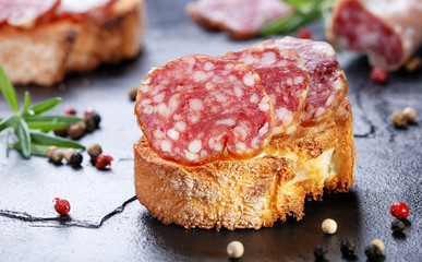 Salami sausage on toasted French bread