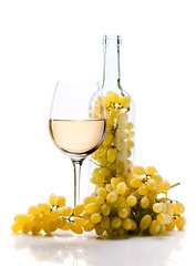 grape and wine on white background