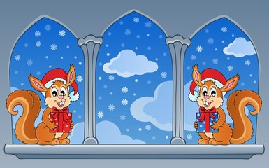 Castle window with Christmas theme