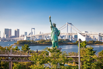 Lady liberty juxtaposed  in Tokyo, Japan.