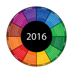 Colorful round calendar for 2016 year. Vector EPS10.