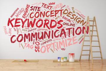 Kommunikation Tag Cloud an Wand