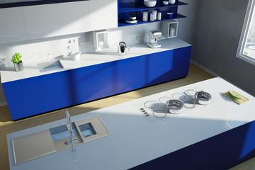 Moderne Kücheninsel von oben