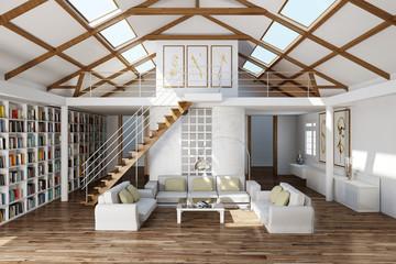 Wohnzimmer mit großer Couch und Regalen