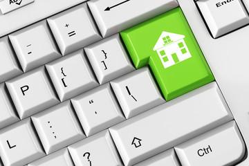 Haus als Symbol auf Taste einer Tastatur