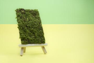 Caballete con lienzo de césped / Easel with grass canvas