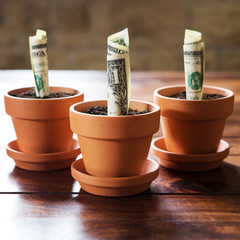Konzept: Investition und Finanzierung von US Dollar
