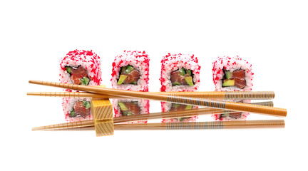 Japanese rolls and chopsticks on mirror surface