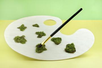 Paleta de pintor con césped / Palette with grass