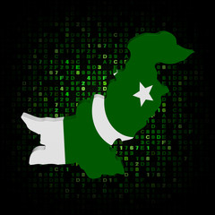Pakistan map flag on hex code illustration