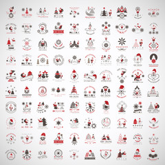 Christmas Icons And Elements Set - Isolated On Gray Background