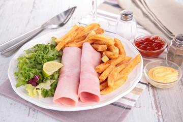 ham,salad and french fries