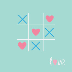 Tic tac toe game cross heart sign mark Love card Blue pink Flat