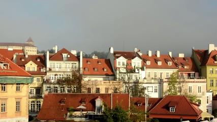 city - urban vintage buildings - sunrise - roofs