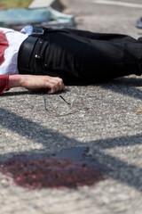 Injured man in blood