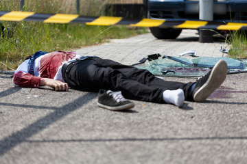 Dead casualty after a car crash