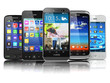 Choosing of mobile phone.  Different modern smartphones with tou
