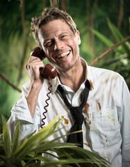 Phone call in jungle wilderness