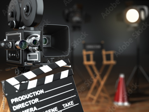 Video, movie, cinema concept. Retro camera, flash, clapperboard