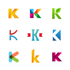 Set of letter K logo icons design template elements. Collection