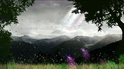Fantasy scene in the mountains